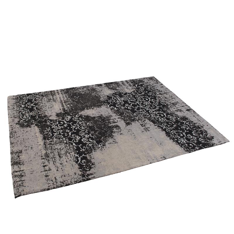 Vintage rechthoekig vloerkleed zwart/grijs 160 x 230cm - Puri