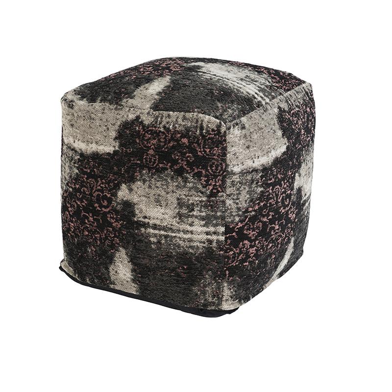 Vintage vierkant poefje zwart/roze 45 x 45 x 45cm - Puri