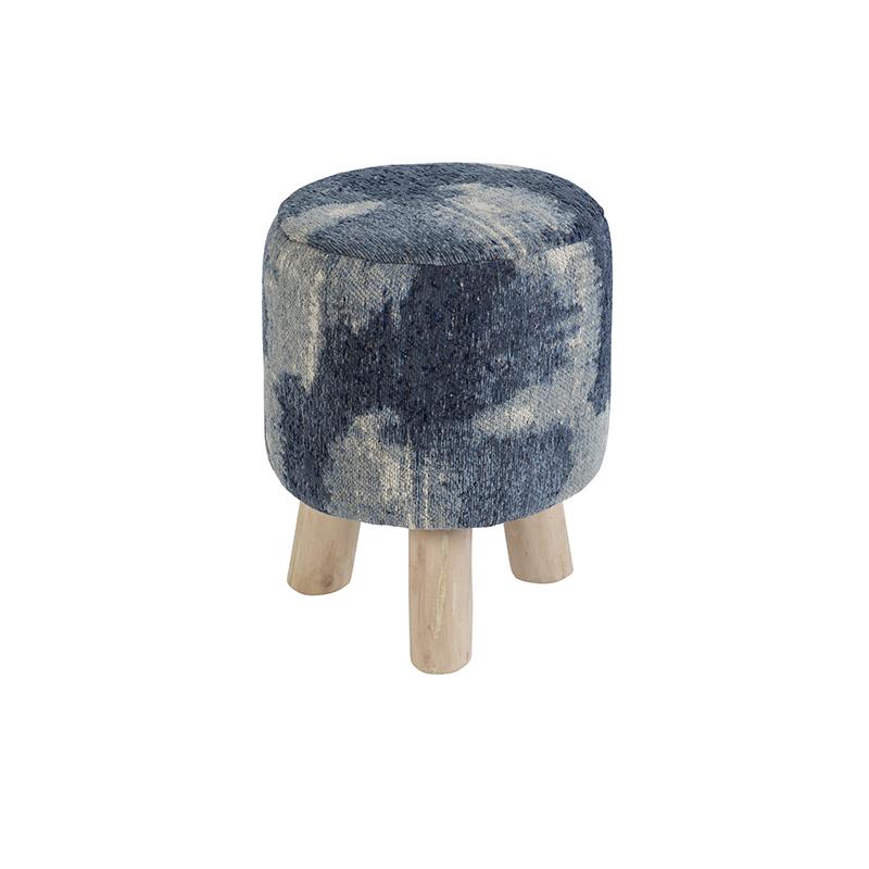 Vintage rond krukje blauw 30 x 30 x 40cm - Puri