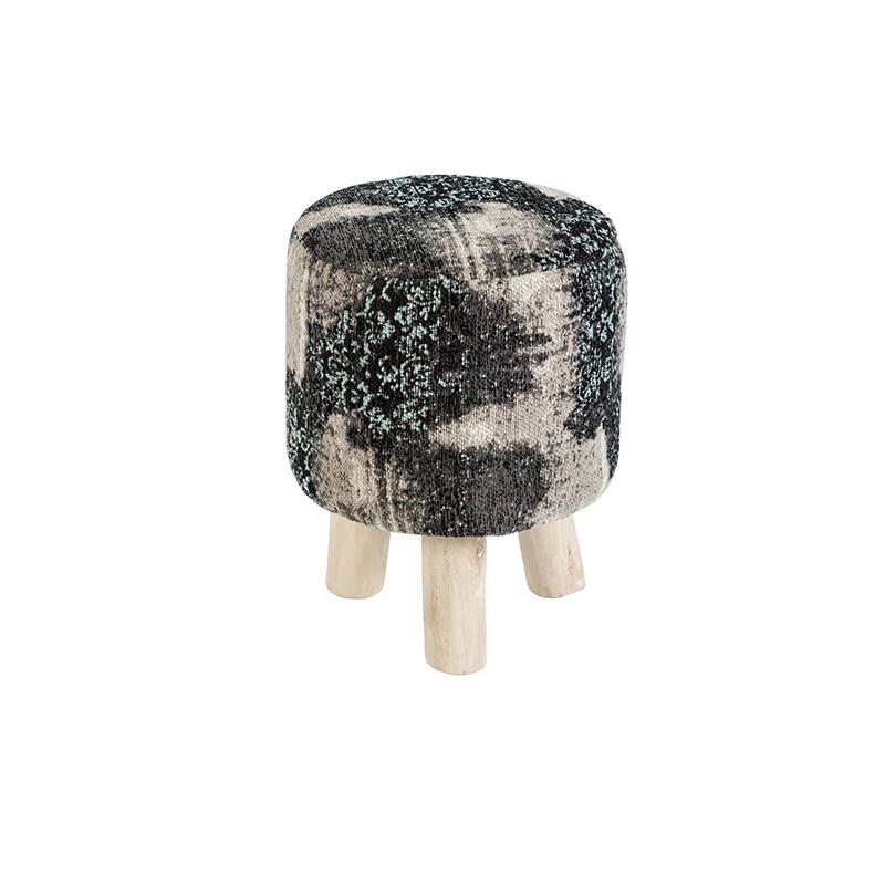Vintage rond krukje zwart/turquoise 30 x 30 x 40cm - Puri