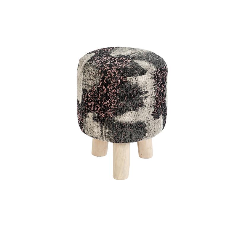 Vintage rond krukje zwart/roze 30 x 30 x 40cm - Puri