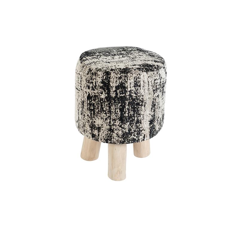 Vintage rond krukje zwart/beige 30 x 30 x 40cm - Kochi