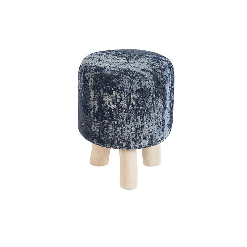 Vintage rond krukje blauw 30 x 30 x 40cm - Kochi