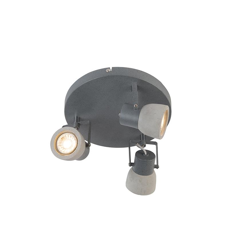 Industriele ronde spot grijs beton 3-lichts - Creto