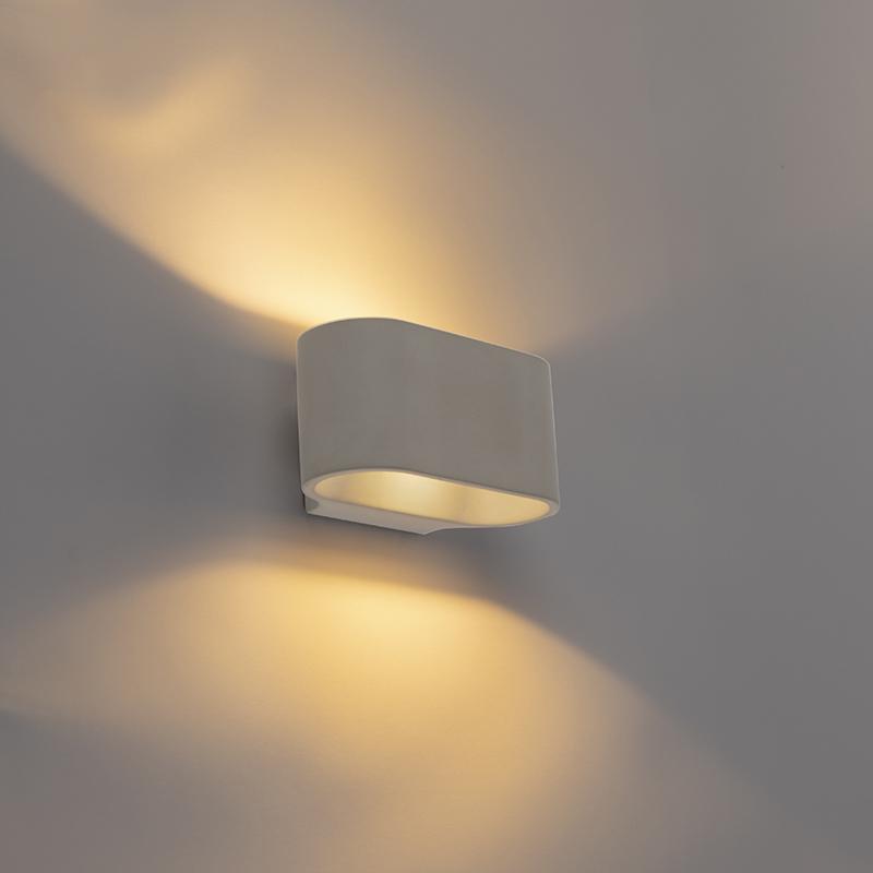 Landelijke ovale wandlamp beton - Arles