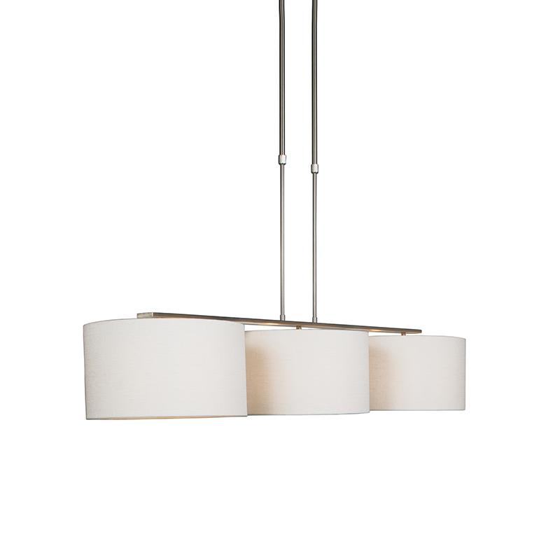 Nowoczesna lampa wisząca stal klosz biały 35cm - Combi 3 Deluxe