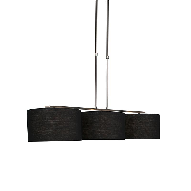 Moderne hanglamp staal met kap 35 cm zwart - Combi 3 Deluxe