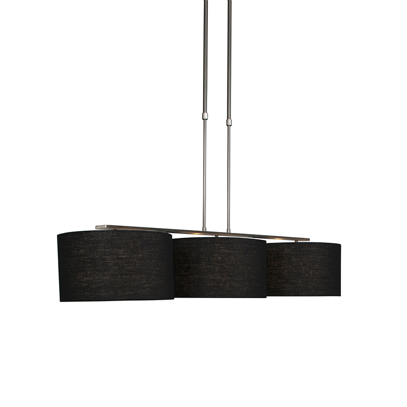 Nowoczesna lampa wisząca stal klosz czarny 35cm - Combi 3 Deluxe