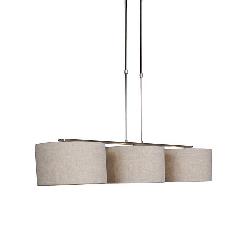 Moderne hanglamp staal met kap 35 cm peper - Combi 3 Deluxe