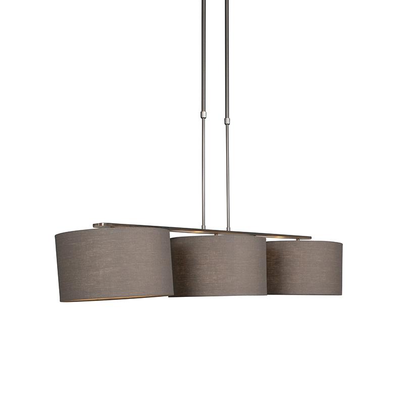 Nowoczesna lampa wisząca stal klosz postarzany szary 35cm - Combi 3 Deluxe