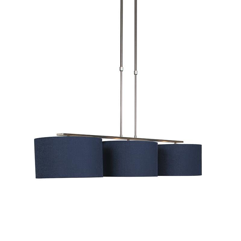 Hanglamp staal met kap antiek blauw 35 cm - Combi 3 Deluxe