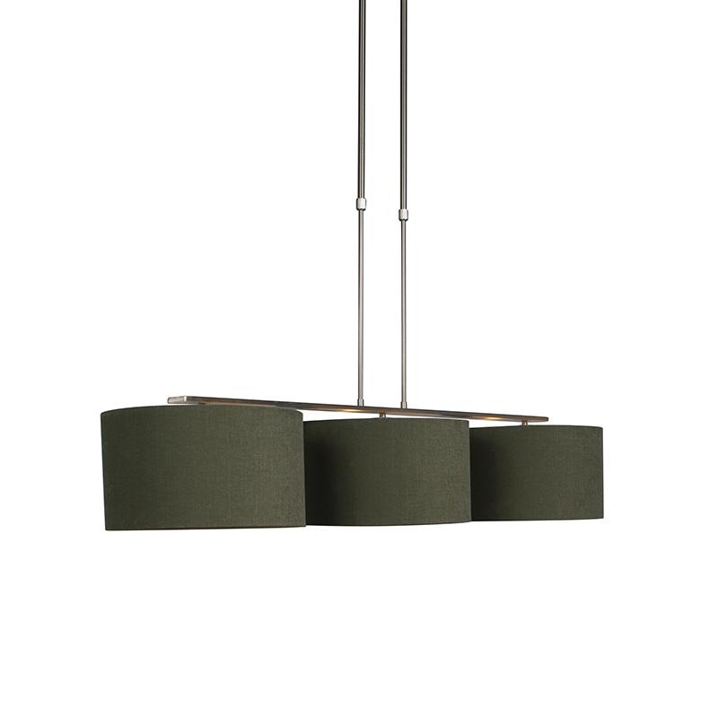 Hanglamp Combi 3 Deluxe staal met kap 35cm mos groen