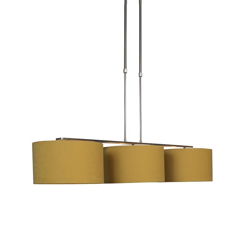 Moderne hanglamp staal met kap 35 cm mais - Combi 3 Deluxe