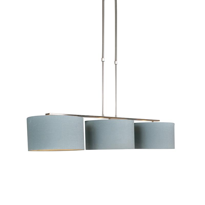Hanglamp Combi 3 Deluxe staal met kap 35cm mineraal