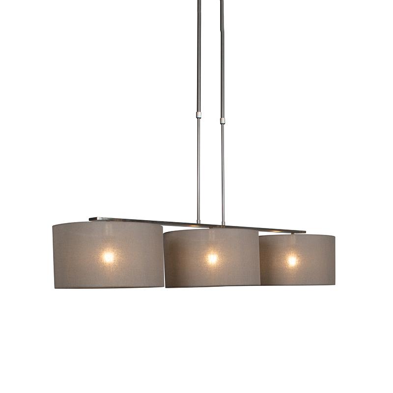 Moderne hanglamp staal met kap 35 cm taupe - Combi 3 Deluxe