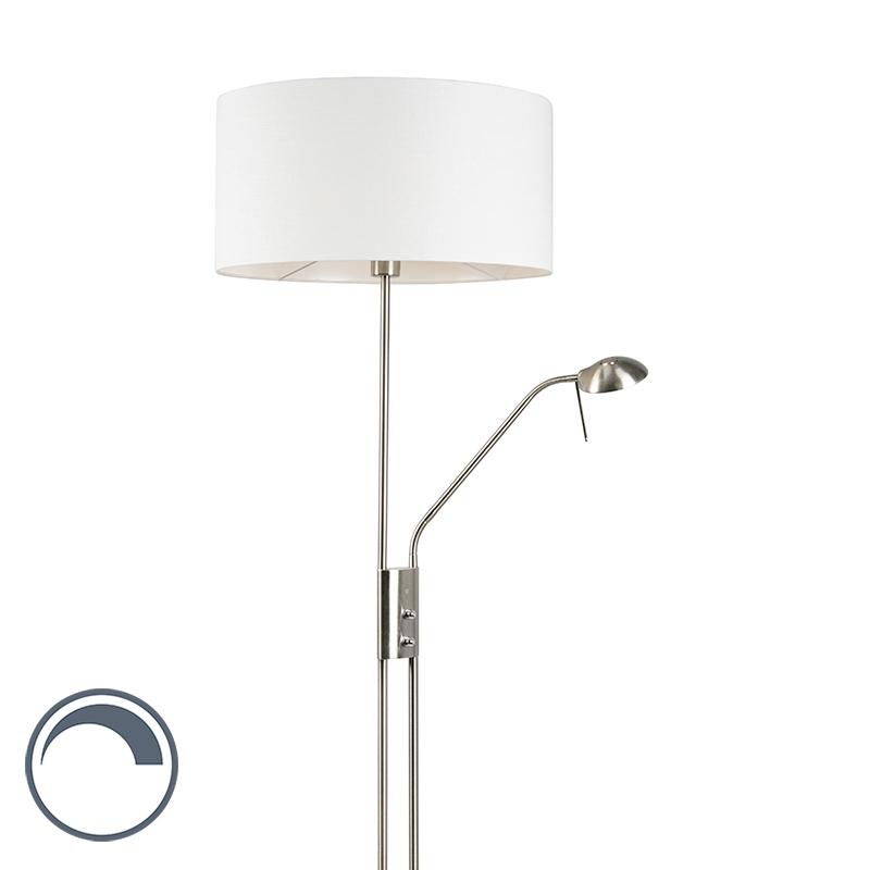 Vloerlamp staal en wit met verstelbare leesarm incl. LED - Luxor