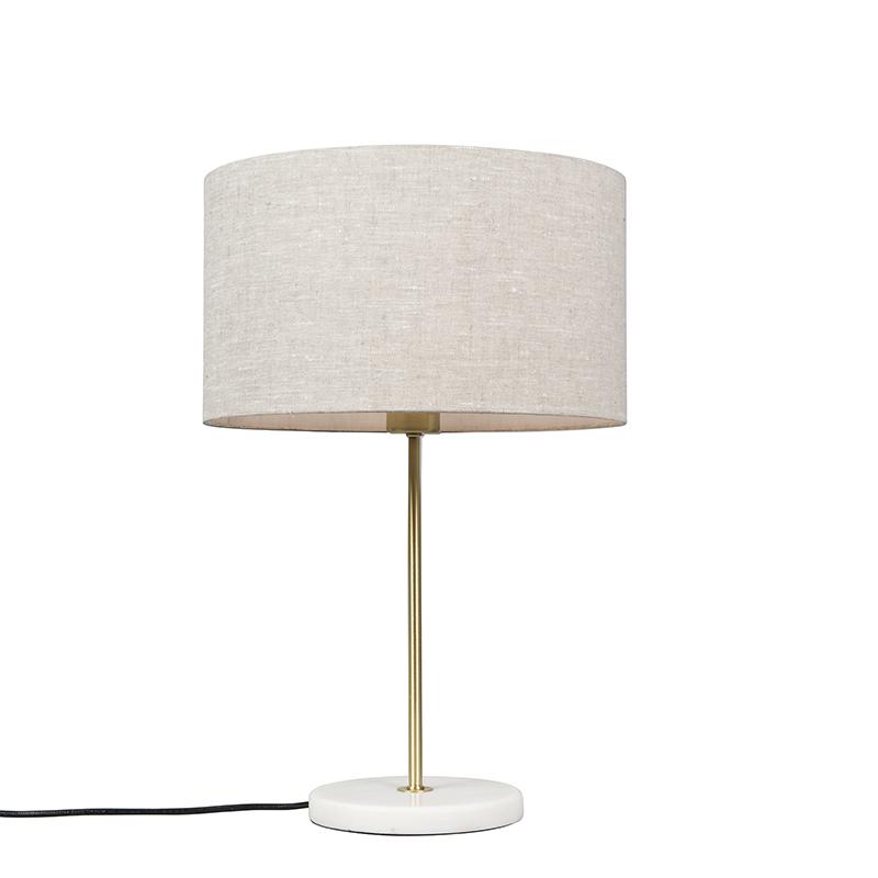 Tafellamp messing met grijze kap 35 cm - Kaso