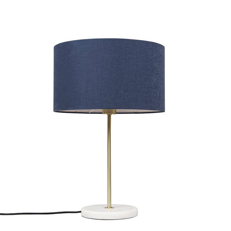 Tafellamp messing met blauwe kap 35 cm - Kaso