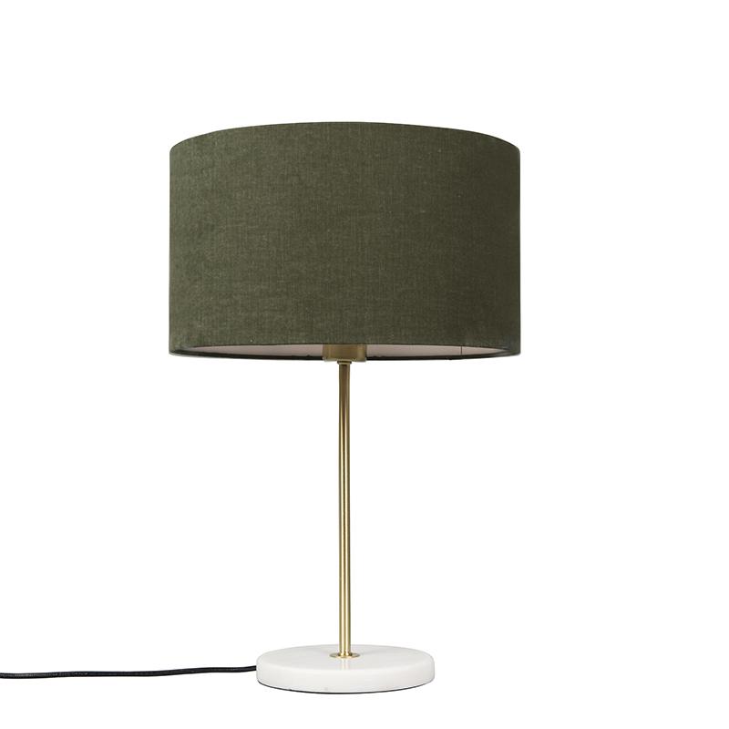 Tafellamp Kaso messing met kap 35cm mos groen