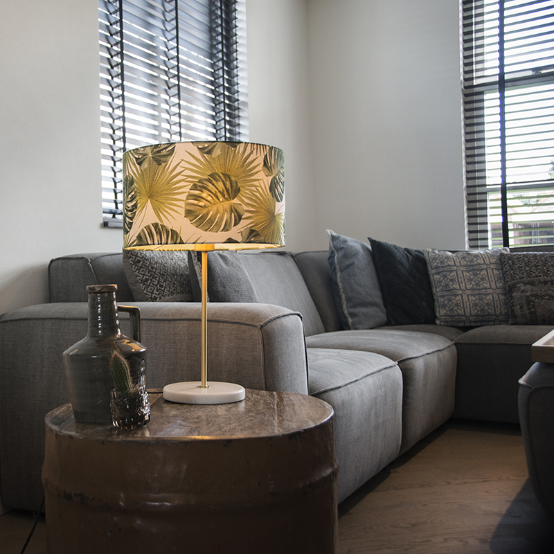 Tafellamp Kaso messing met kap 35cm leaf