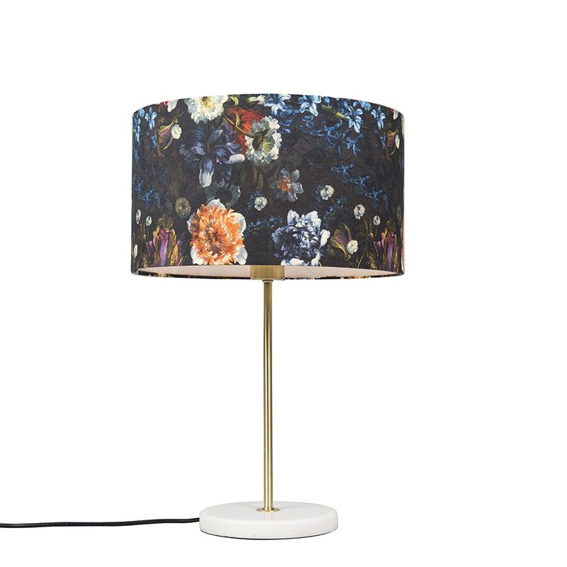 Tafellamp Kaso messing met kap 35cm flora