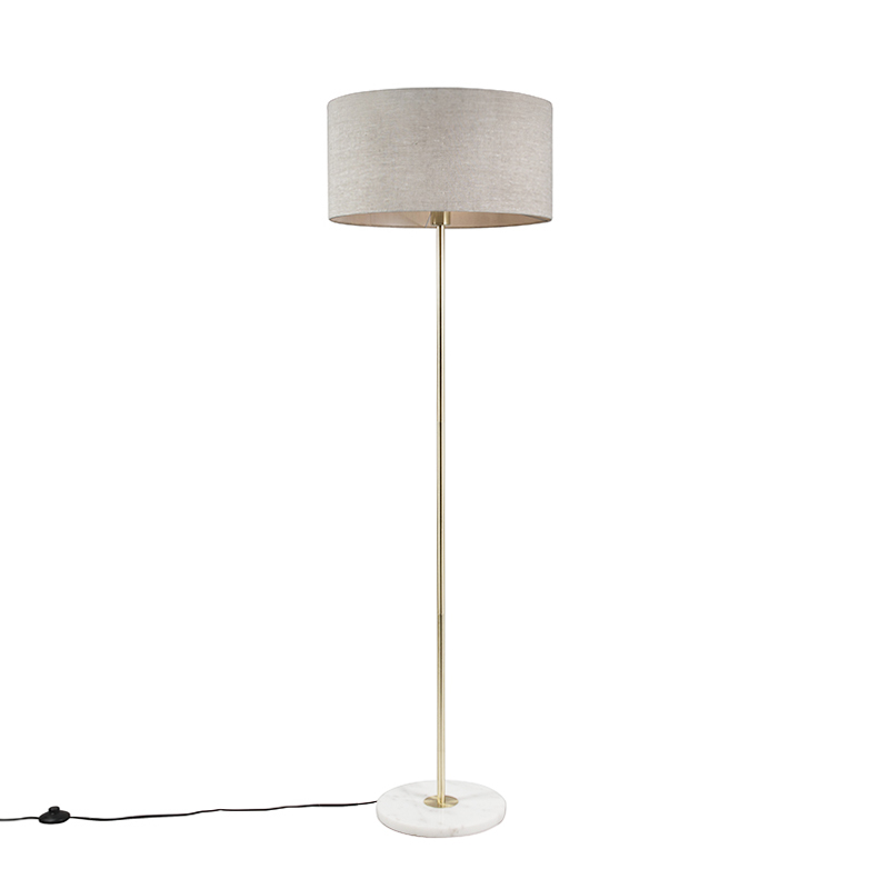 Vloerlamp Kaso messing met kap 50cm peper