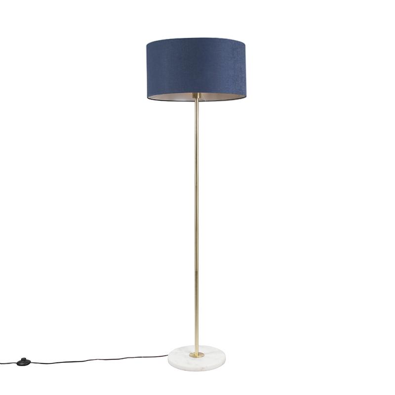 Vloerlamp Kaso messing met kap 50cm antiek blauw