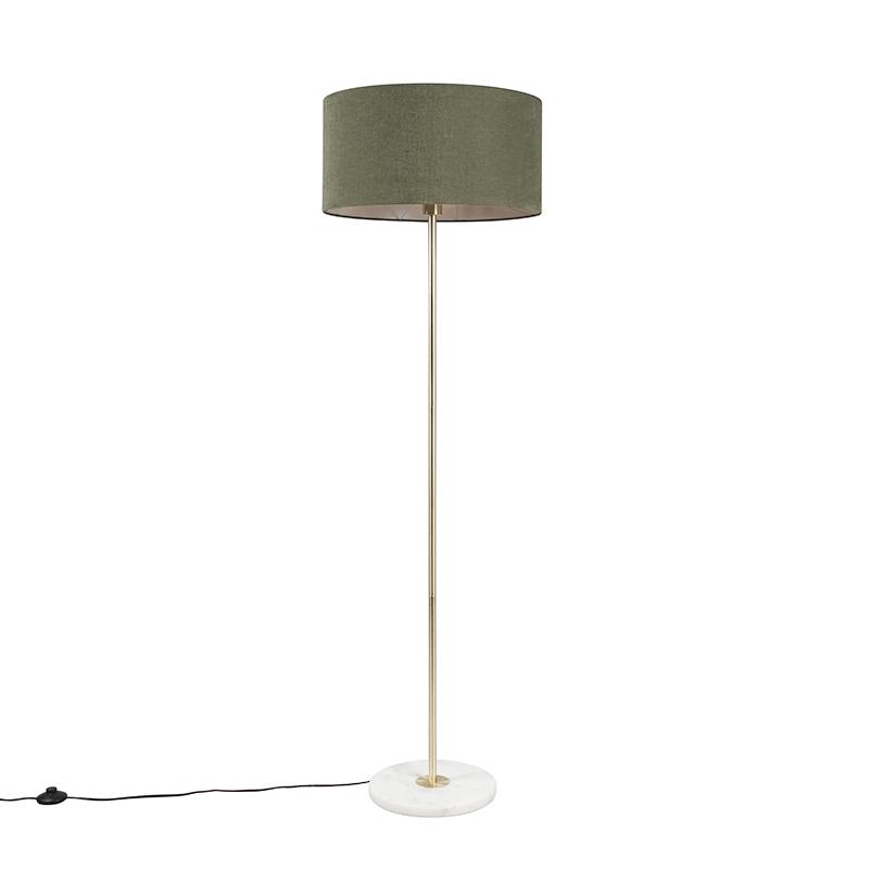 Vloerlamp Kaso messing met kap 50cm mos groen