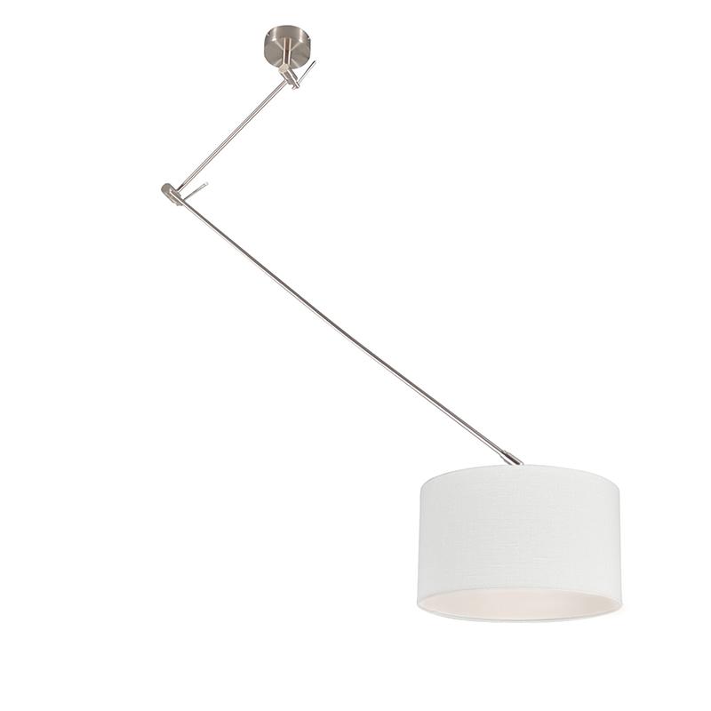 Hanglamp Blitz I staal met kap 35cm offwhite