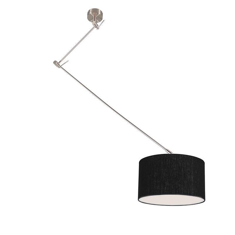 Hanglamp Blitz I staal met kap 35cm zwart