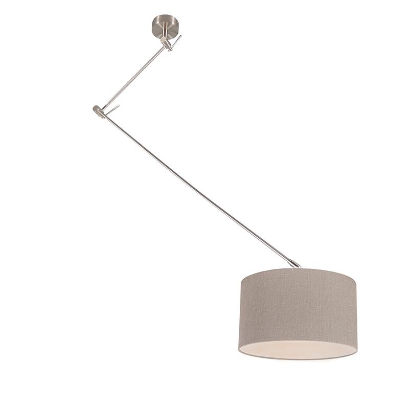 Hanglamp staal met kap 35 cm oud grijs verstelbaar - Blitz I