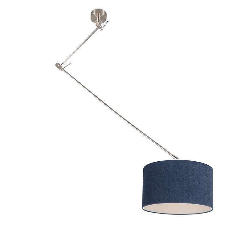 Hanglamp Blitz I staal met kap 35cm antiek blauw