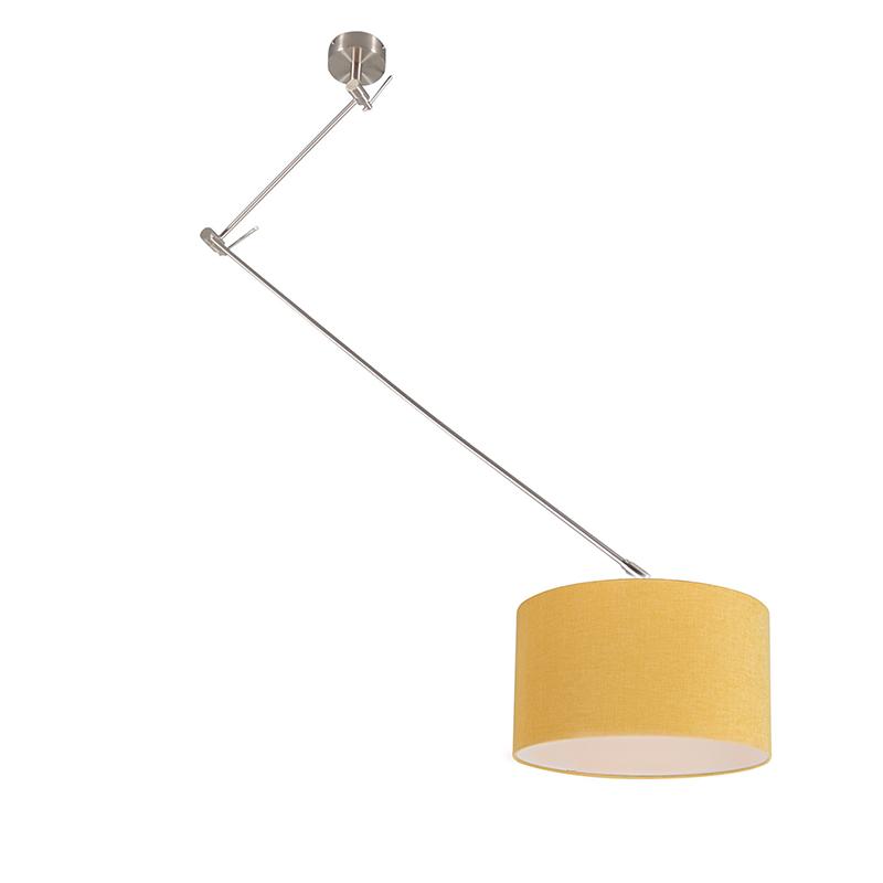 Hanglamp staal met kap 35 cm geel verstelbaar - Blitz I