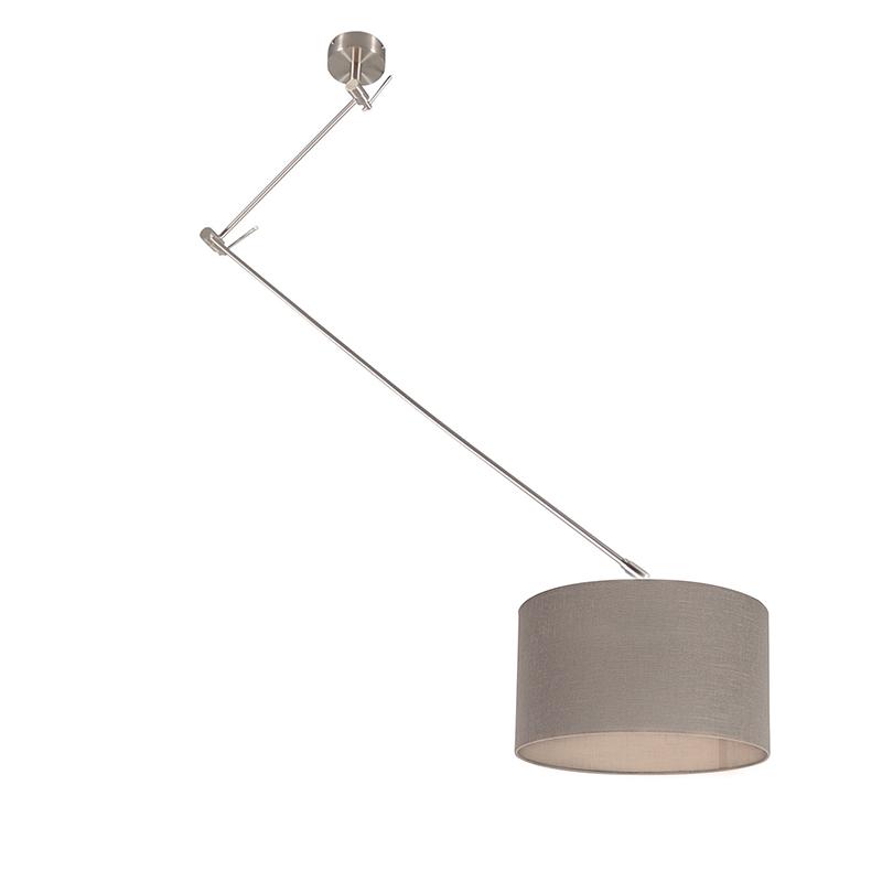 Hanglamp Blitz I staal met kap 35cm taupe
