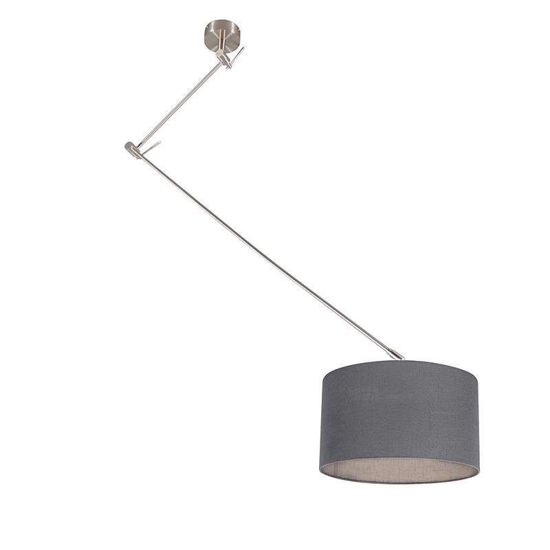 Hanglamp staal met kap 35 cm donker grijs verstelbaar - Blitz I