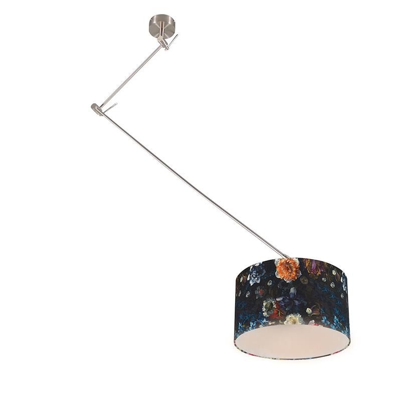 Moderne hanglamp staal met flora kap 35 cm - Blitz 1