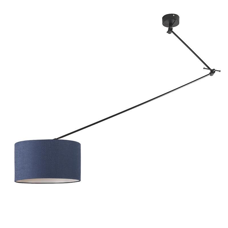 Hanglamp zwart met kap 35 cm blauw verstelbaar - Blitz I