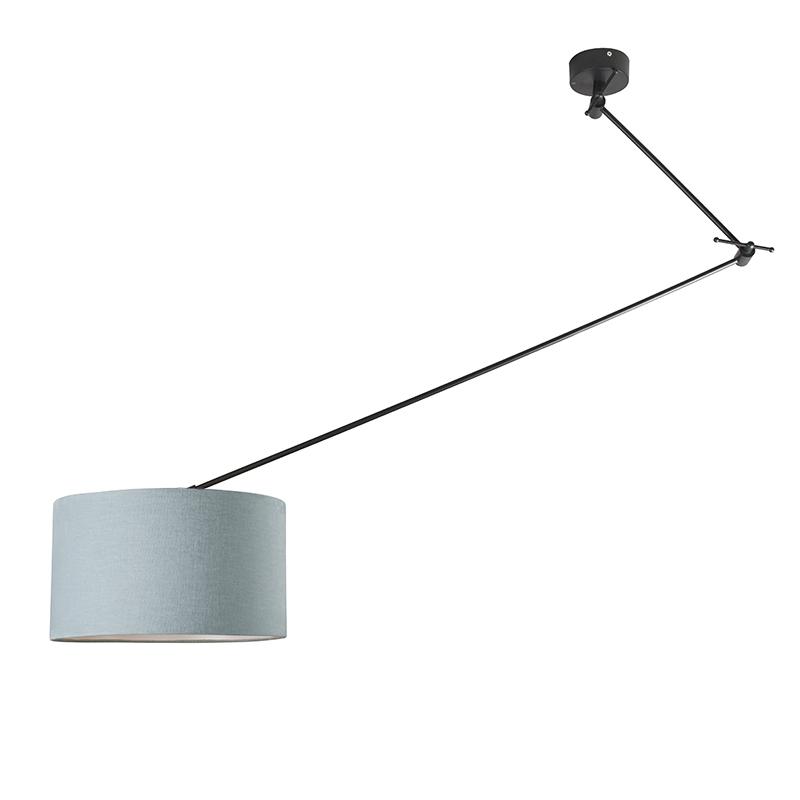 Lampa wisząca regulowana czarna klosz jasnoniebieski 35cm - Blitz I