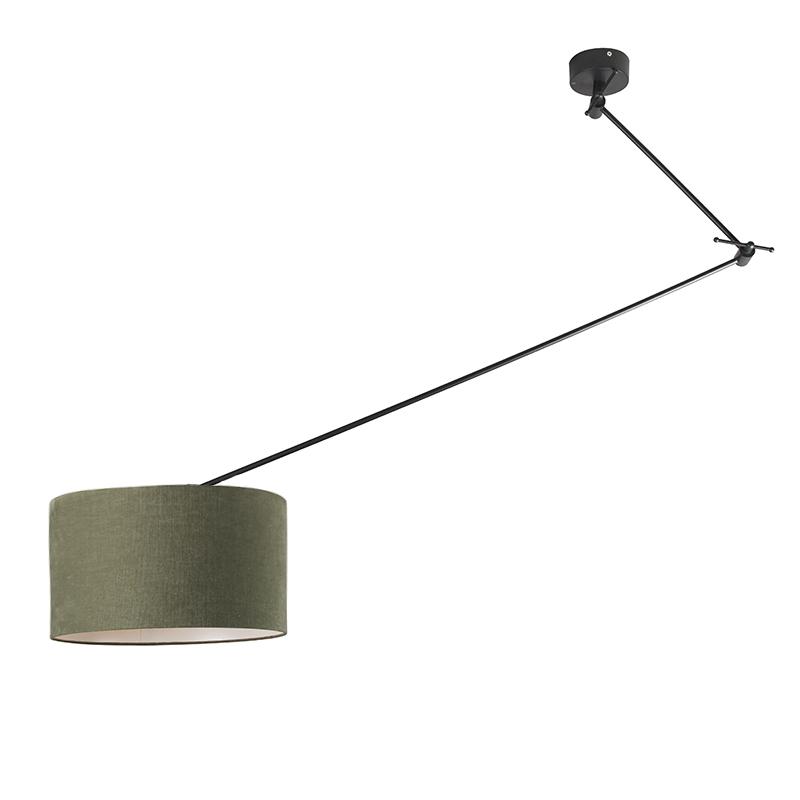 Hanglamp zwart met kap 35 cm groen verstelbaar - Blitz I