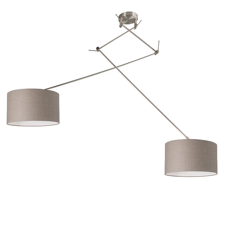Hanglamp staal met kap 35 cm taupe verstelbaar - Blitz II