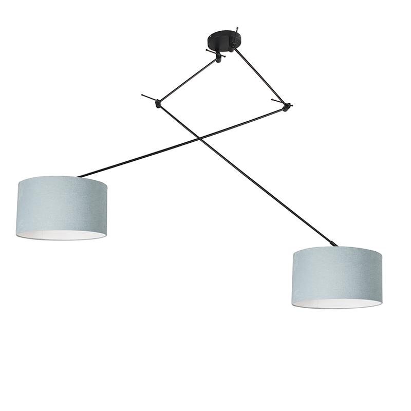Hanglamp zwart met kap 35 cm lichtblauw verstelbaar - Blitz II