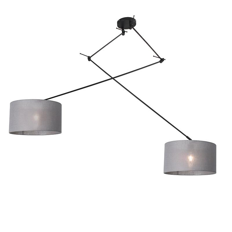 Hanglamp zwart met kap 35 cm grijs verstelbaar - Blitz II