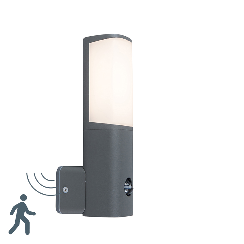 Moderne buitenlamp donkergrijs incl. LED met bewegingssensor - Rico