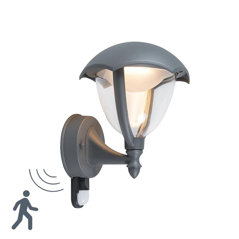 Moderne buitenlamp up donkergrijs LED met bewegingsmelder - Cappe