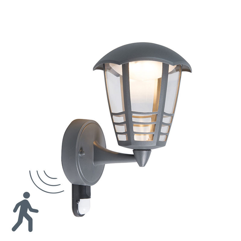 Moderne buitenlamp donkergrijs incl. LED met bewegingssensor - Mara