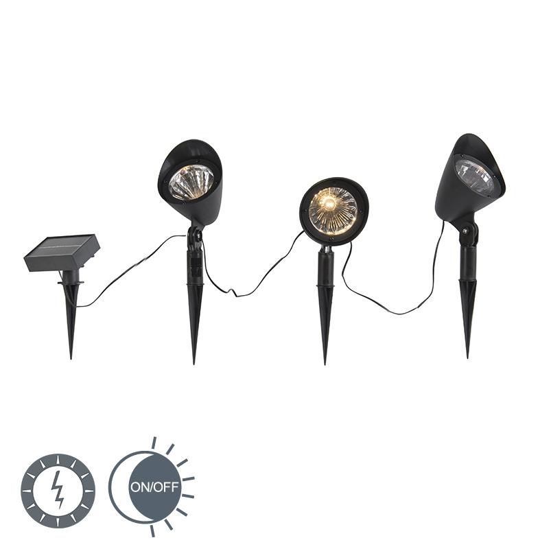 Prikspot zwart incl. LED op zonne-energie set van 3 IP44 - Sunshine