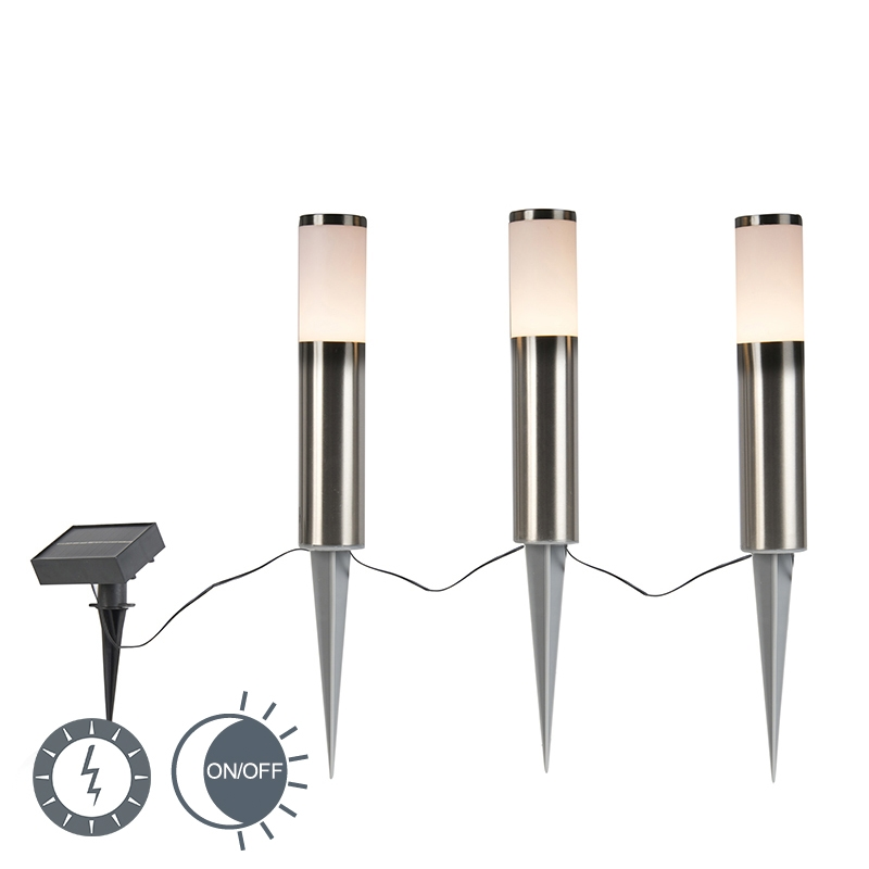 Prikspot staal incl. LED op zonne-energie set van 3 IP44 - Rox