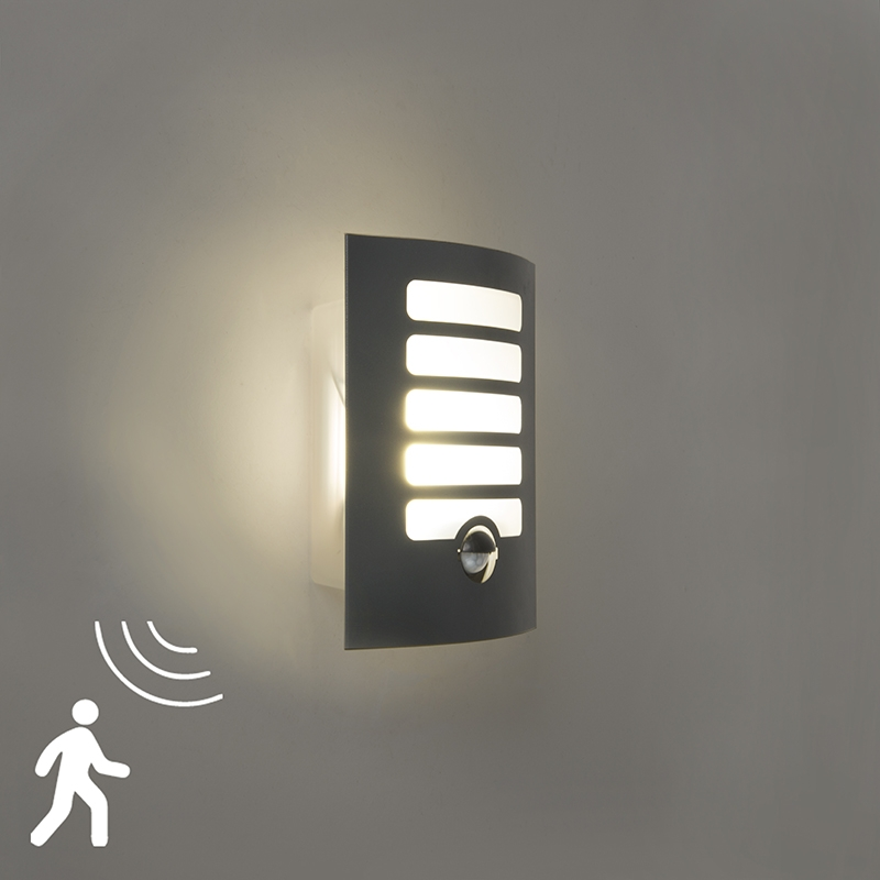 Buitenlamp Grid Led Donker Grijs Met Bewegingsmelder