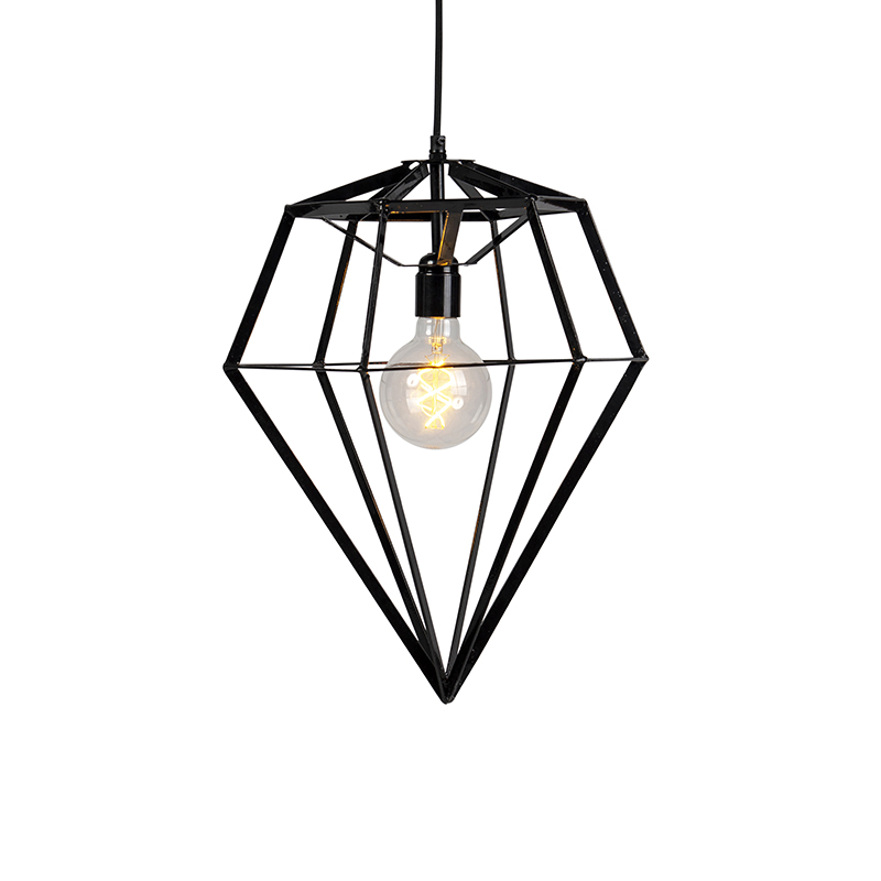 Industriele hanglamp zwart - Frame Diamond large