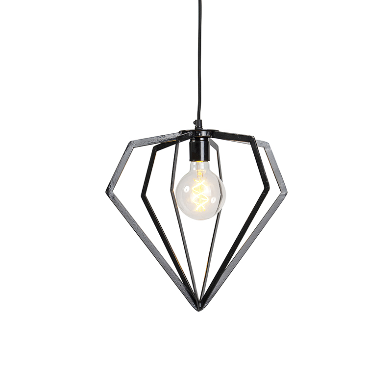 Industriele hanglamp zwart - Frame Diamond small